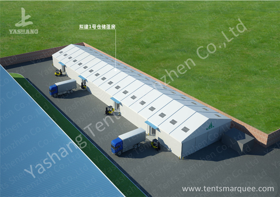 20M Outdoor temporary warehouse tent Aluminum Alloy Profile skylights designed